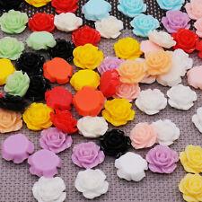 50pcs Resin Roses Flat Back 13mm 20mm Card Making Craft Gel Nail Art Make Up