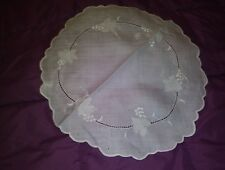 Madeira Linen Embroidered 15 inch Table Topper or Doily.