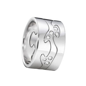 Georg Jensen. Fusion 3-piece Ring - 18k. White Gold with Diamonds.