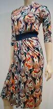 SALONI Multi Colour Silk Blue Glitter Waist 3/4 Sleeve Pleated Skirt Lined Dress