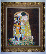 """""""THE KISS (BACIO)"""" AFTER GUSTAV KLIMT OIL ON CANVAS REPRODUCTION by TONY"""