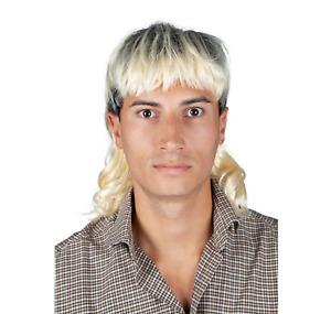 Mens Joe Exotic Tiger Man Blonde 1980's King Fancy Dress Costume Mullet Wig
