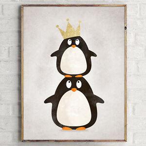 Nordic Art Penguin Cartoon Minimalism Art Canvas Poster Baby Room Decoration