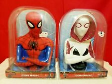 Spiderman Coin Bank Marvel Ages 4+ Gift Christmas New In Domed Package Set Of 2