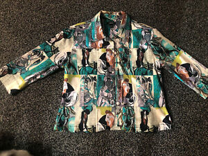 Vtg Picasso Jacket Art Blazer Picasso Abstract Button Pockets Teal Blue