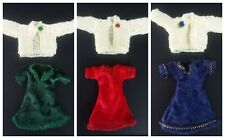 Miniature 1/12th Scale Dolls House Crushed Velvet Dresses/ knitted Cardigans