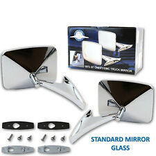 73-91 Chevy Truck Chrome Outside Rectangle Square Rear View Door Mirrors Pair