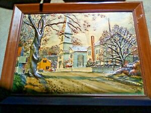 Mid Century Metalcraft 3D Dimension 3 New England Country Church Landscape