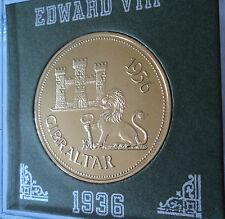 1936 Gibraltar rey Eduardo VIII han abdicado patrón corona moneda UNC en caso de exhibición