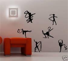 6 X RIBBON TWIRLERS WALL ART STICKER KIDS BEDROOM DANCE