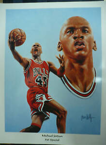 Michael Jordan Chicago Bulls Special 45 24x18 Lithograph By Jeon Wolf Last Dance