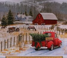 "36"" X 44"" Panel Christmas Red Truck Horses Country Holiday Cotton Fabric D500.38"