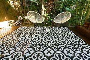 200 x 270cm Lisboa Black/White Outdoor Plastic Rug/Mat Waterproof