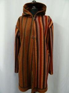 Women's Vintage 1960's Red Hippie Glastonbury Coat Pixie Hood Size 14
