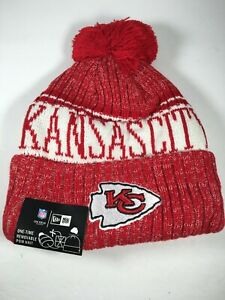 Kansas City Chiefs New Era NFL Pom Knit Hat Beanie Hat Red and White NWT