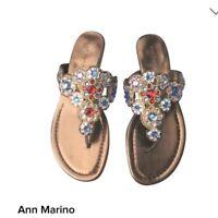 New Womens Ann Marino Tetris Jeweled Flip Flop Sandal Gold 116F  pr
