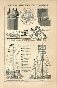 1895 MARINE SEA INSTRUMENTS SEXTANT COMPASS CHRONOMETER Antique Engraving Print