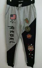 Men's Rebel Minds Patches Sweat Pants - Black/Gray
