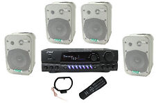 """4) Pyle 5.25"""" Outdoor Speakers + PT260A 200W Stereo Home Theater Receiver"""