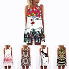 Summer LADY Vintage Floral Sleeveless Short Beach Sundress Dress Tank Tops NEW