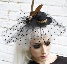 Crâne net veil mini top hat veuve halloween gothique goth wicca steam punk