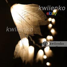 20 White Bodhi Leave Flower Fairy Lights String Hanging Backdrop Spa Restaurant