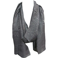 Silver Gray Sequined Lurex Shimmering Fashion Long Shawl Wrap Scarf