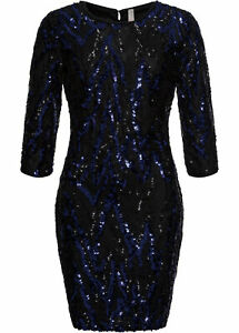 Abendkleid Gr 36 38 schwarz dunkelblau Pailletten Minikleid Cocktailkleid neu