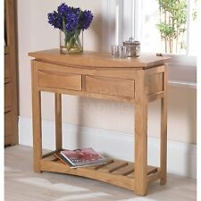 Crescent solid oak hallway contemporary furniture console hall table
