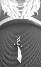 LOOK sterling silver .925 PIRATE slashing sword cutlass Pendant Ship Charm Jewel