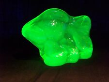 VASELINE URANIUM GLASS ANGEL FANCY TAIL GOLD  FISH FIGURINE ART  GLOW  (198654