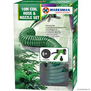 10M METRE RETRACTABLE COIL HOSE GARDEN SPRAY GUN 5 FUNCTION PIPE REEL NOZZLE TAP