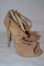 Victorias Secret Angels Tan Suede Leather Platform Stiletto Sky High Heels 7.5