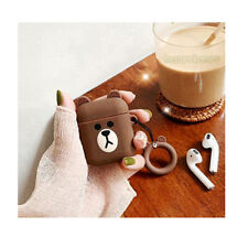 Cute 3D Cartoon Brown Bear Headset Airpods Charge Case Cover For Airpod + Ring