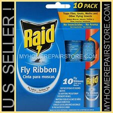 10 / $ 8 — 1 PACK OF 10 — RAID FLY RIBBON — FLYING INSECT — GLUE STRIP —BUG TRAP