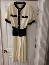 NWT JACKIE BERNARD for EKLEKTIC DRESS SIZE 12 NAVY & CREAM  S/S VINTAGE