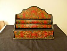 PRETTY HAND DECORATED WOODEN 3 PART LETTER RACK/HOLDER