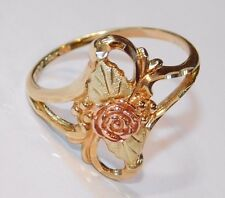 Black Hills Gold 10 kt 12 kt Dakota Rose Leaves Long Ring Size 7