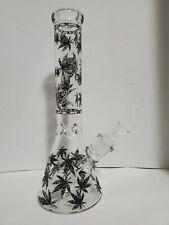 New listing 14 in. Pot Leaf Pattern Glow in Dark Glass Water Pipe w/ Ice Catcher