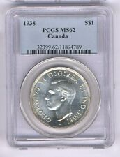 CANADA GEORGE VI  1938 1 DOLLAR SILVER COIN, UNCIRCULATED, CERTIFIED PCGS MS62