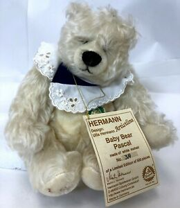 "10"" Vintage Ulla Hermann Limited Edition White Mohair Pascal Baby Teddy Bear"