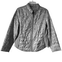 Chicos Womens Puffer Jacket Blue Animal Print Zip Up Lined Button Collar Large