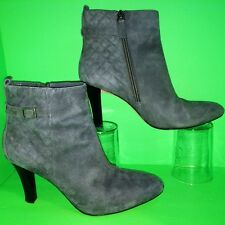 d3f389643eaf BROOKS BROTHERS Gray Suede Leather Womens Ankle Boots Zip Heel Booties Shoes  6.5