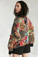 Urban Outfitters Jacket Flower Patchwork  Bomber Oversize Rayon Quilted S NEW