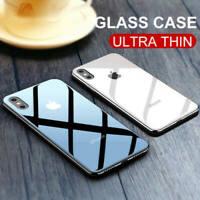 Funda de lujo vidrio Templado lujo con logotipo Para iPhone XS Max XR X 7 8 Plus