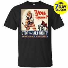 Antifa Stop the Alt Right Anti Trump T-Shirt Black Funny Vintage Gift For Men