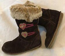 Girls Clarks Dark Brown Suede Lovely Boots Size 7.5F (365QQ)