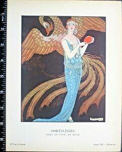 Gazette du bon ton,Art deco pochoir print.George Barbier,Sortileges,1922,Pl.66