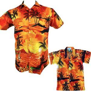 Father Son Set Sunset Orange Mens & Boys Hawaiian Shirts