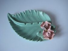 Vintage Enchanto California Pottery Turquois Leaf Ashtray with Pink Flower